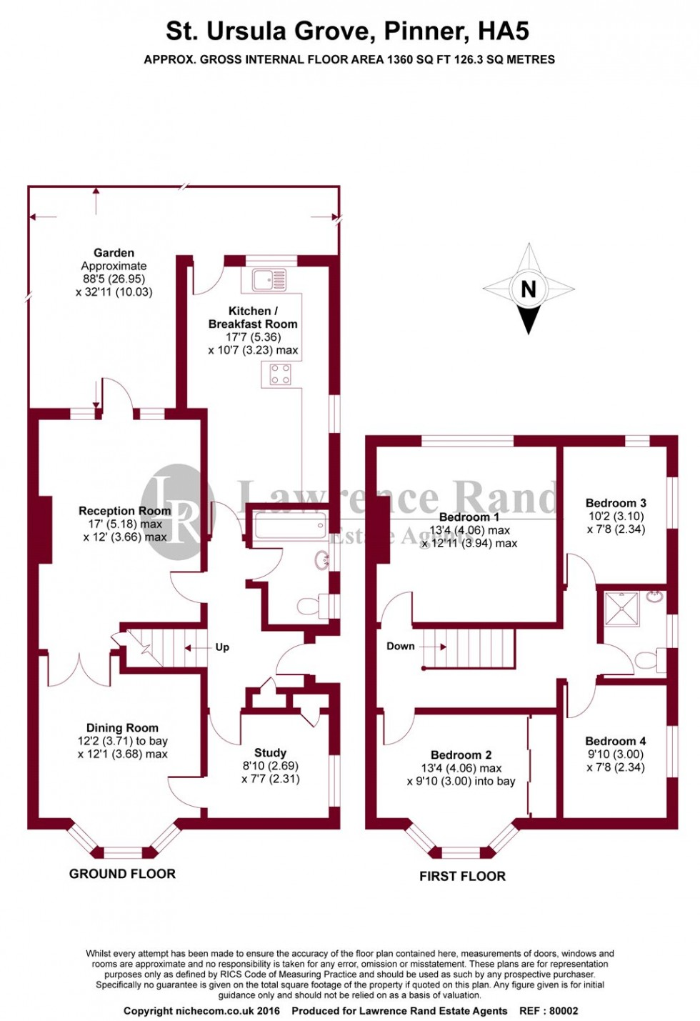 Floorplan for St. Ursula Grove, Pinner, Middlesex, HA5