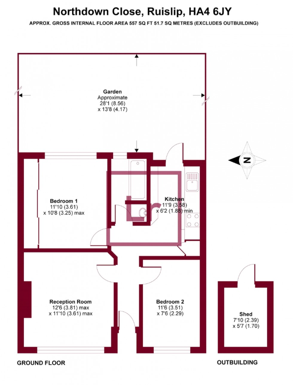 Floorplan for Northdown Close, Ruislip, Middlesex, HA4