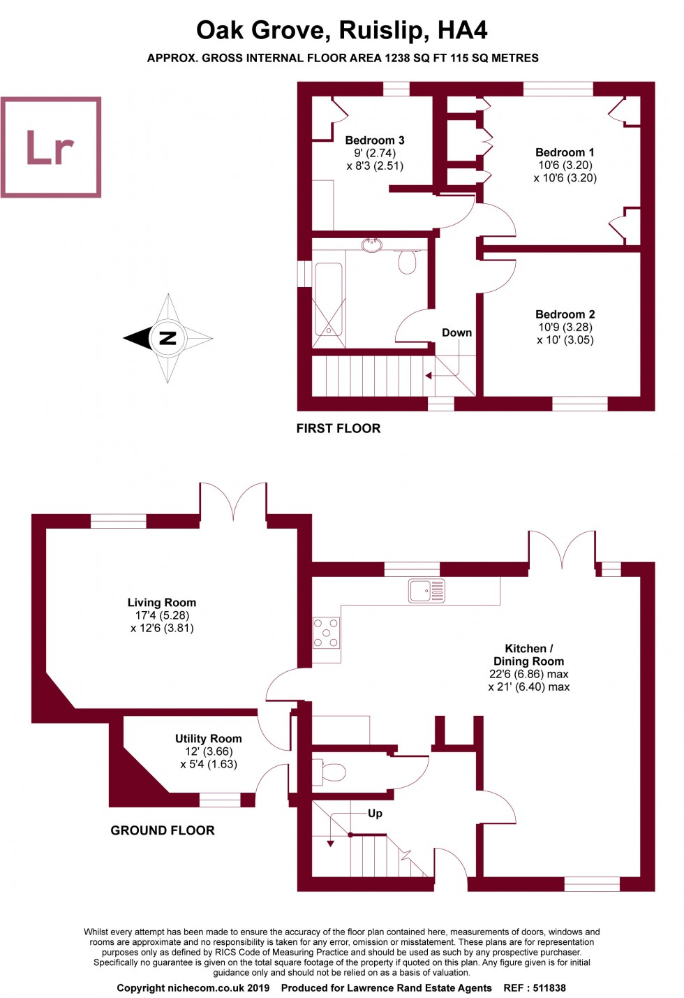 Floorplan for Oak Grove, Ruislip, Middlesex, HA4
