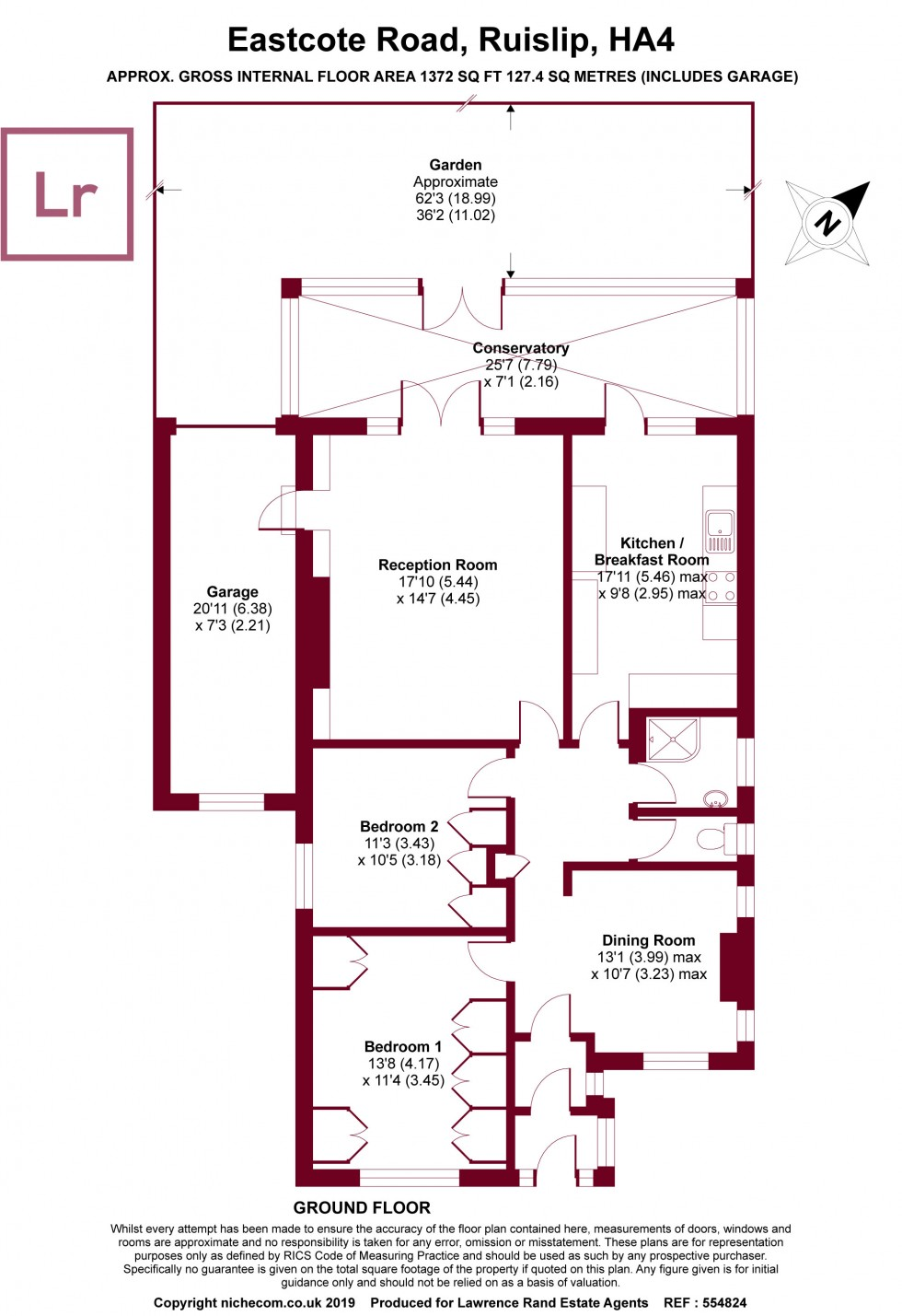 Floorplan for Eastcote Road, Ruislip, Middx, HA4