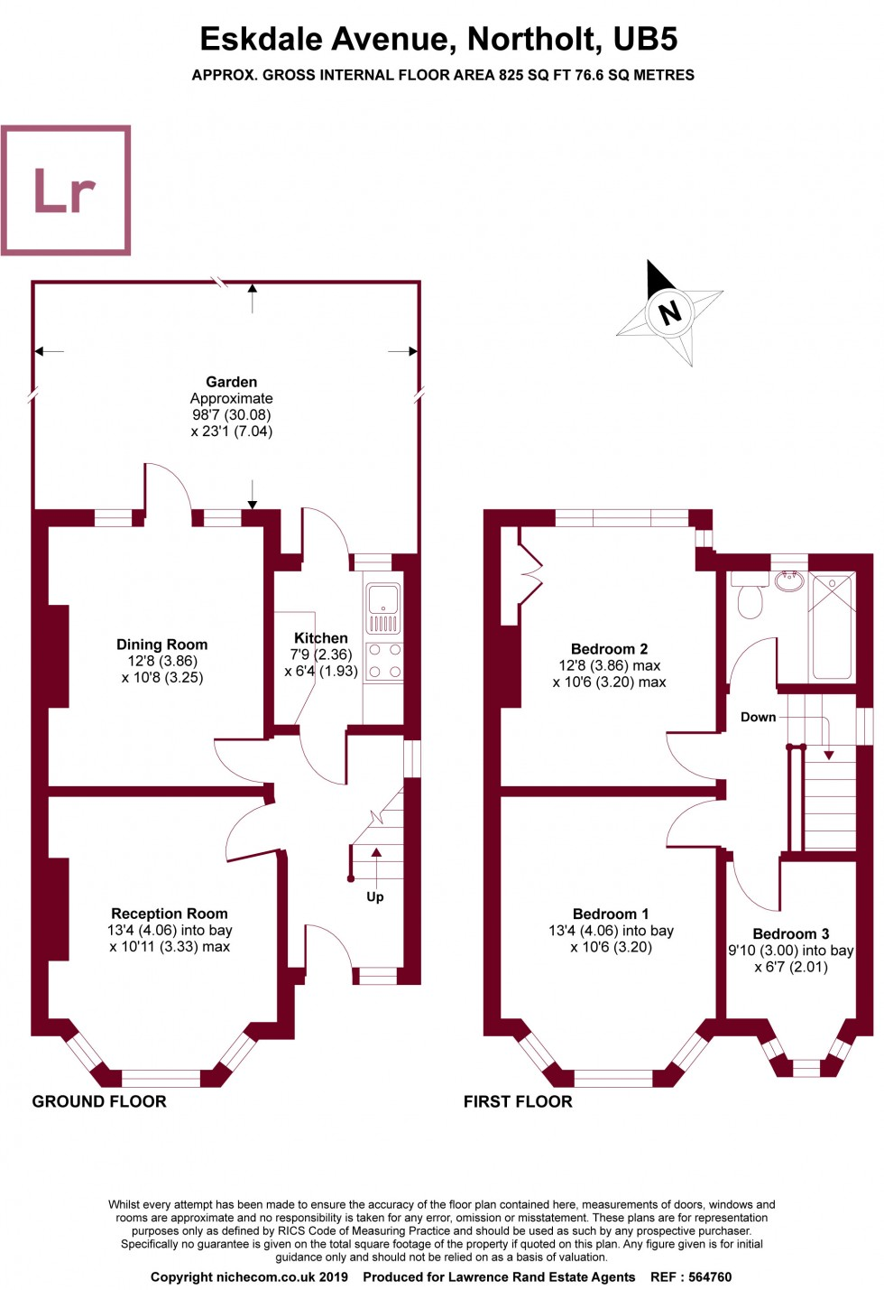 Floorplan for Eskdale Avenue, Northolt, Middlesex, UB5