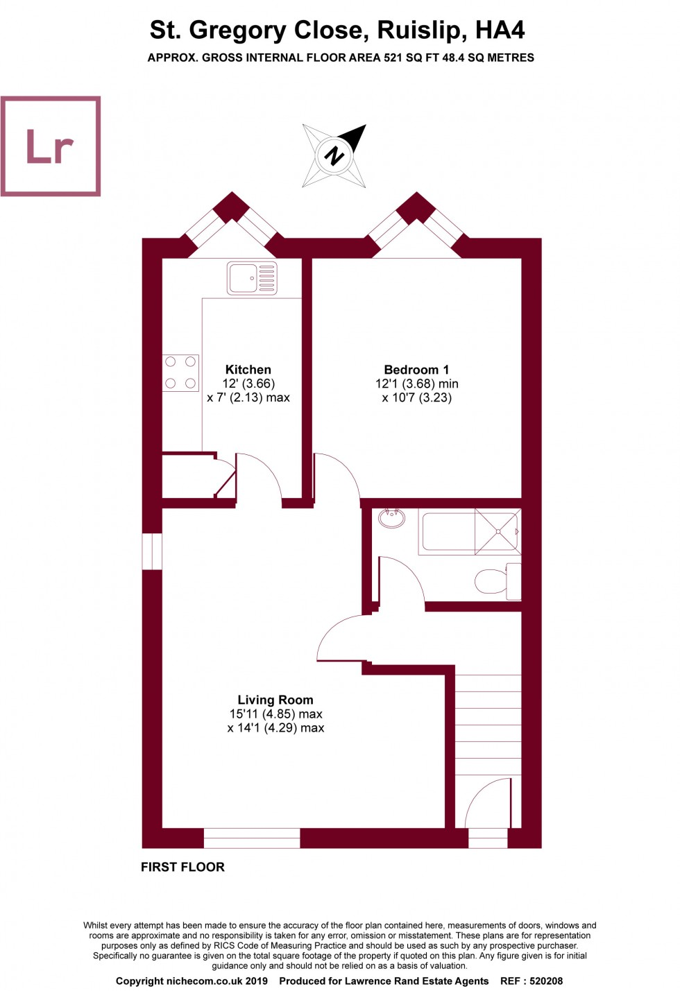 Floorplan for St. Gregory Close, Ruislip, Middlesex, HA4