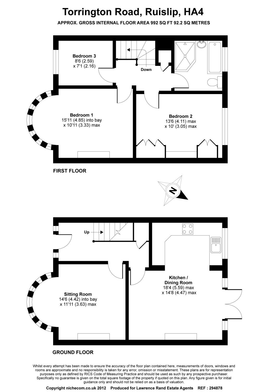 Floorplans For Torrington Road, Ruislip, Middlesex, HA4