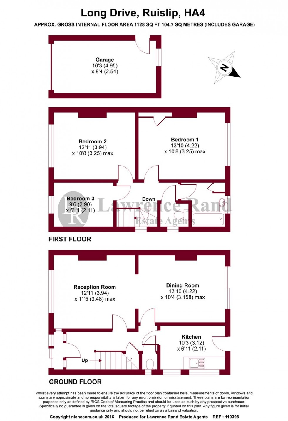 Floorplan for Long Drive, Ruislip, Middlesex, HA4