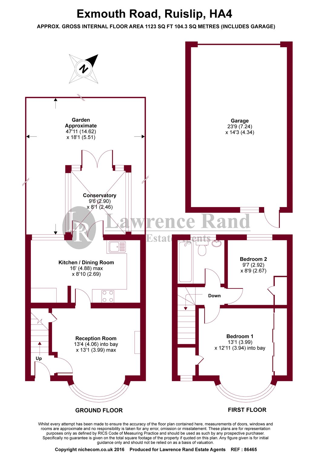 Floorplans For Exmouth Road, Ruislip, Middlesex, HA4