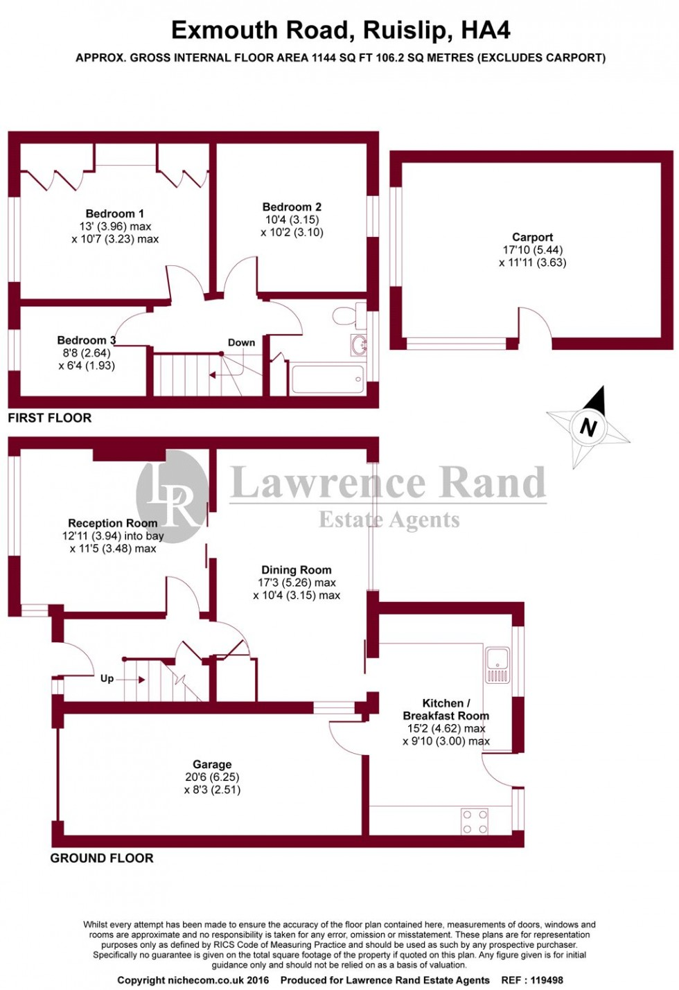 Floorplan for Exmouth Road, Ruislip, Middlesex, HA4