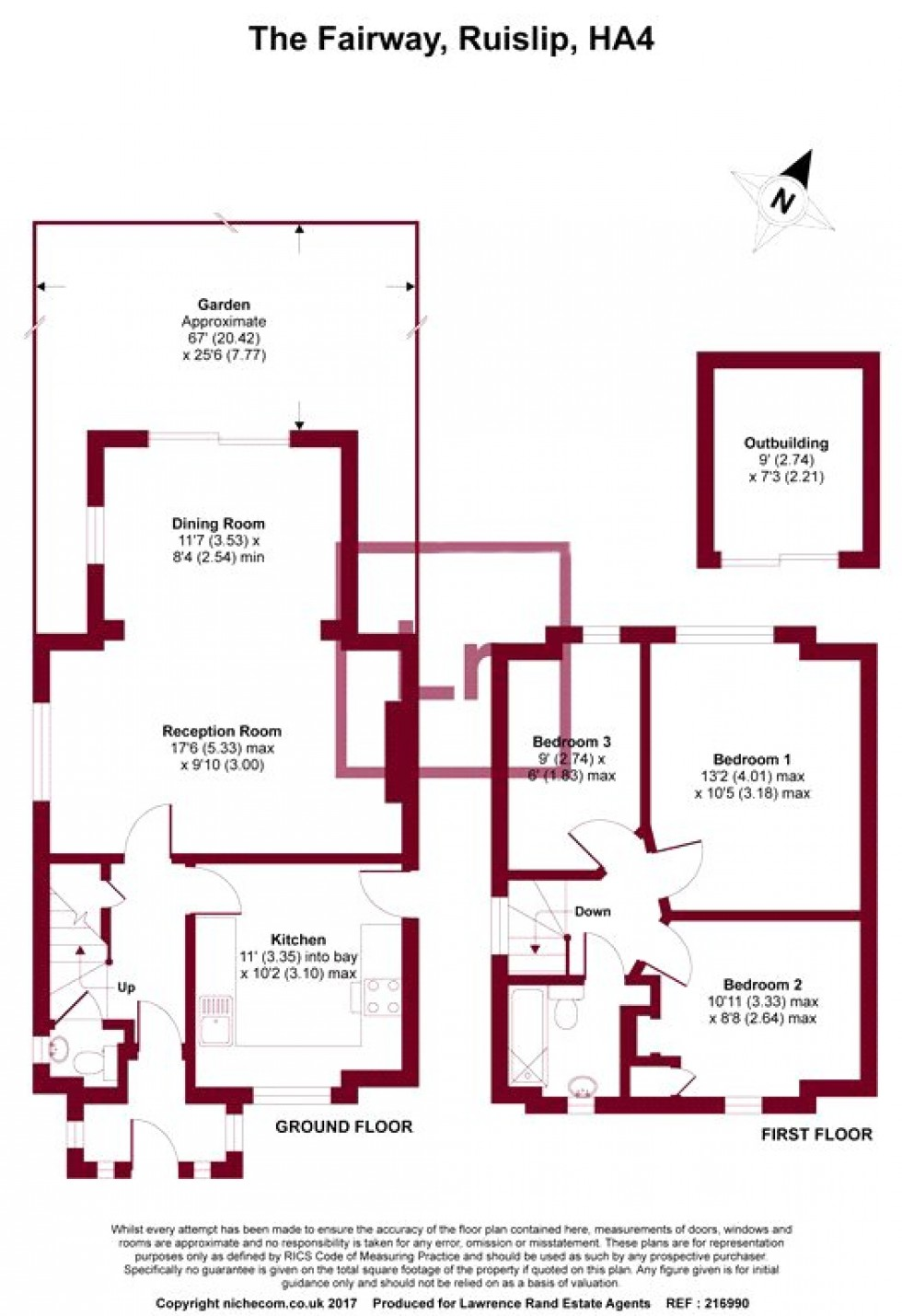 Floorplan for The Fairway, Ruislip, Middlesex, HA4
