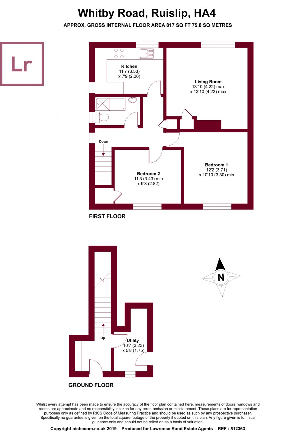 Floorplan for Whitby Road, Ruislip, Middlesex, HA4