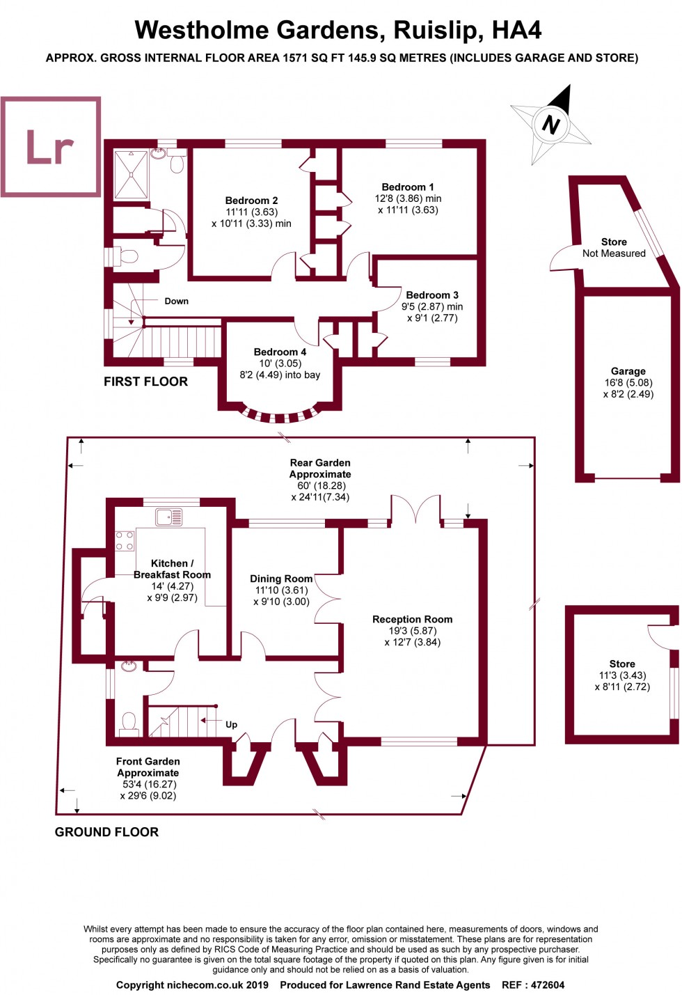 Floorplan for Westholme Gardens, Ruislip, Middlesex, HA4
