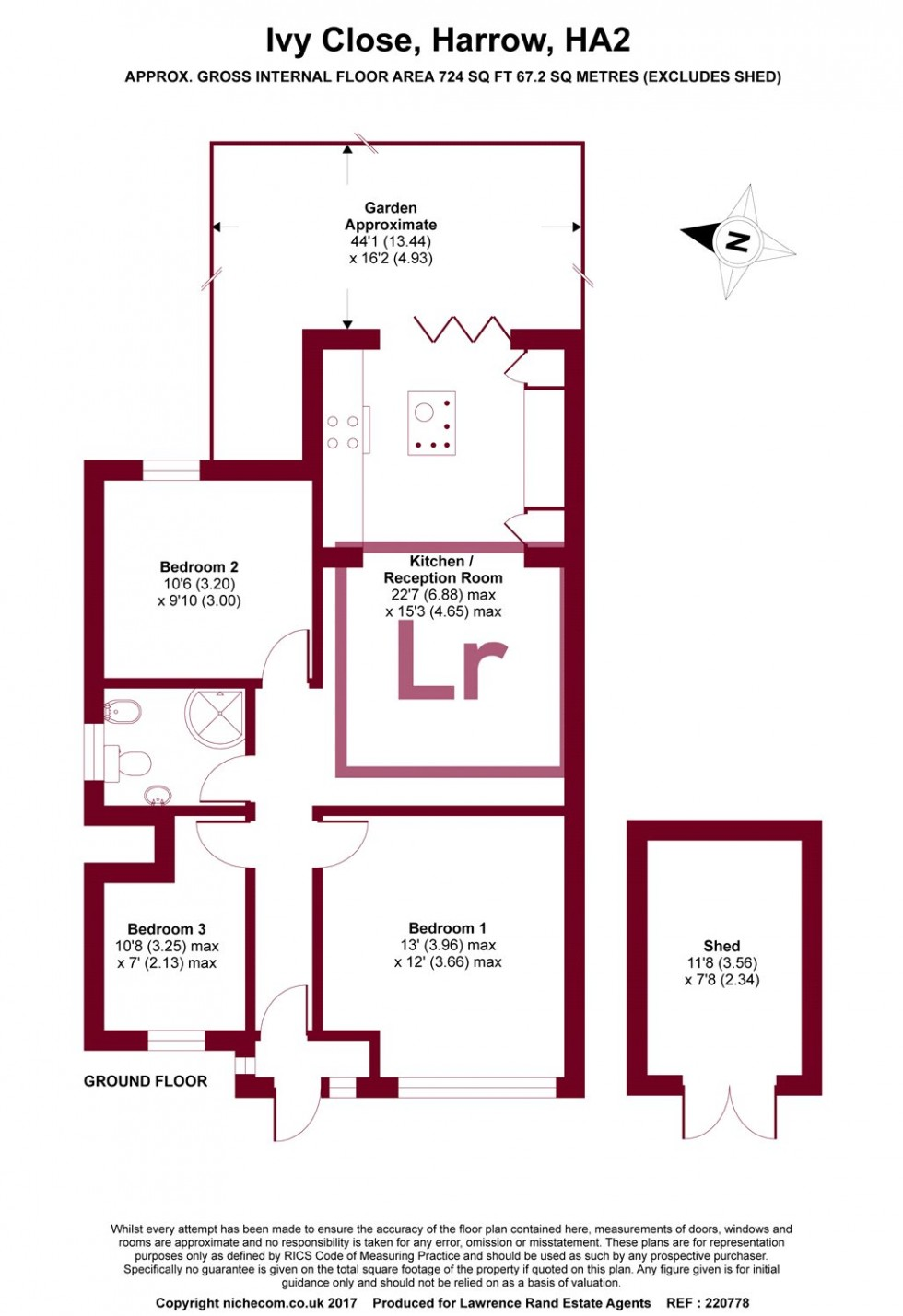 Floorplan for Ivy Close, Harrow, Middlesex, HA2