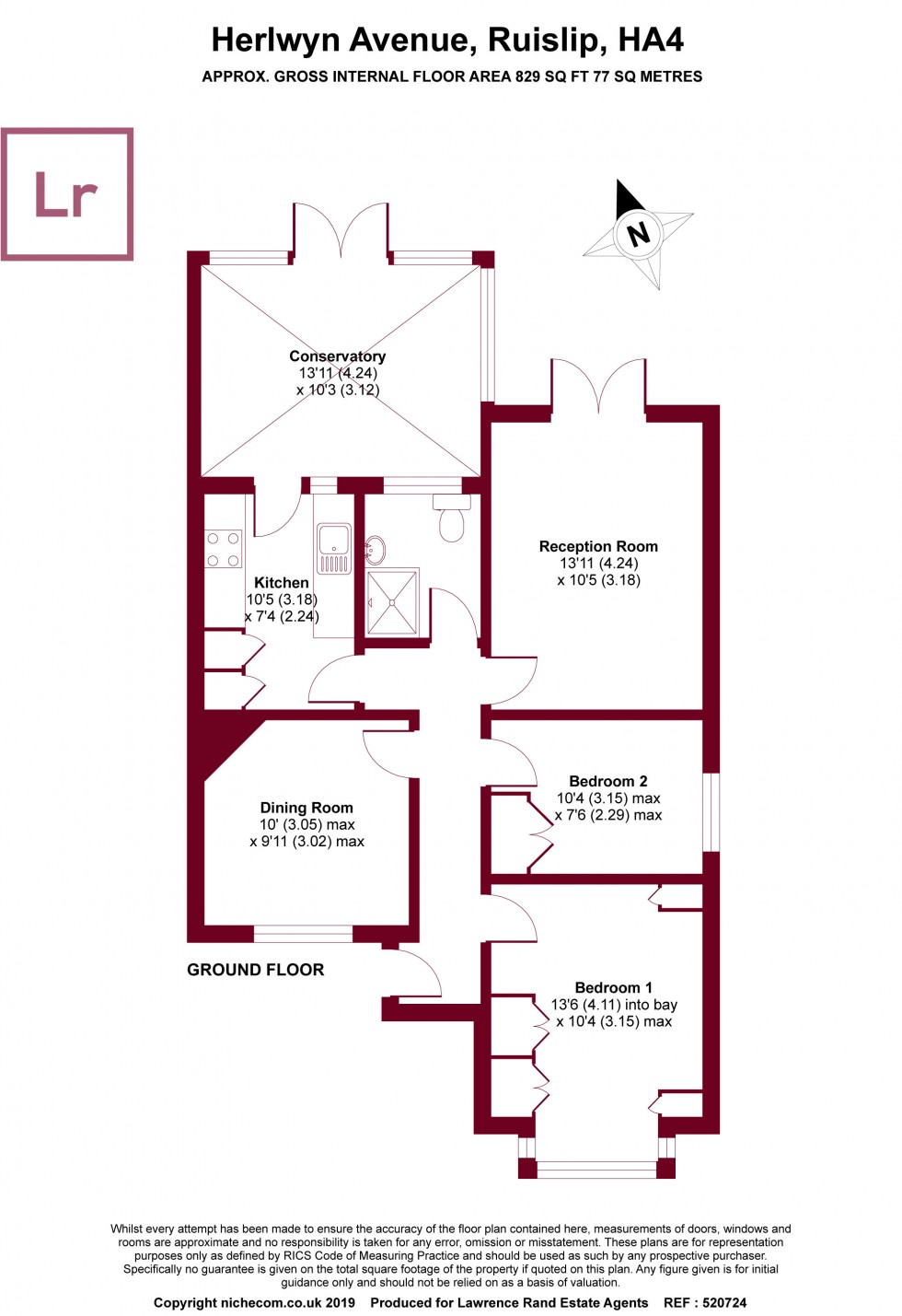 Floorplan for Herlwyn Avenue, Ruislip, Middlesex, HA4
