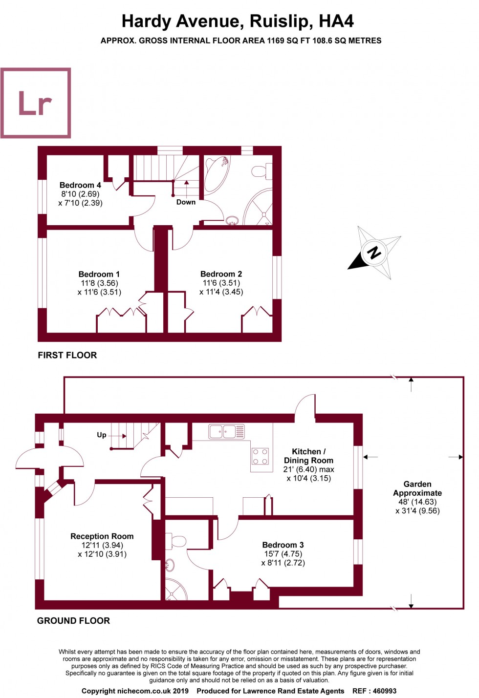 Floorplan for Hardy Avenue, Ruislip, Middlesex, HA4