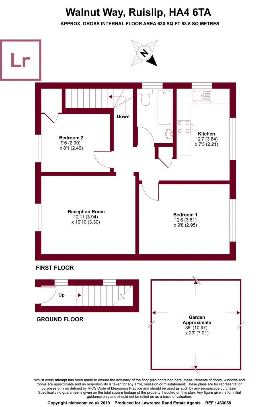 Floorplan for Walnut Way, Ruislip, Middlesex, HA4