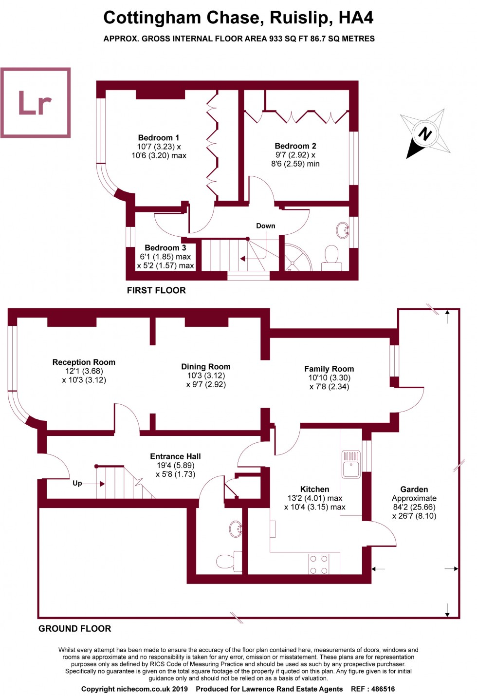 Floorplan for Cottingham Chase, Ruislip, Middlesex, HA4