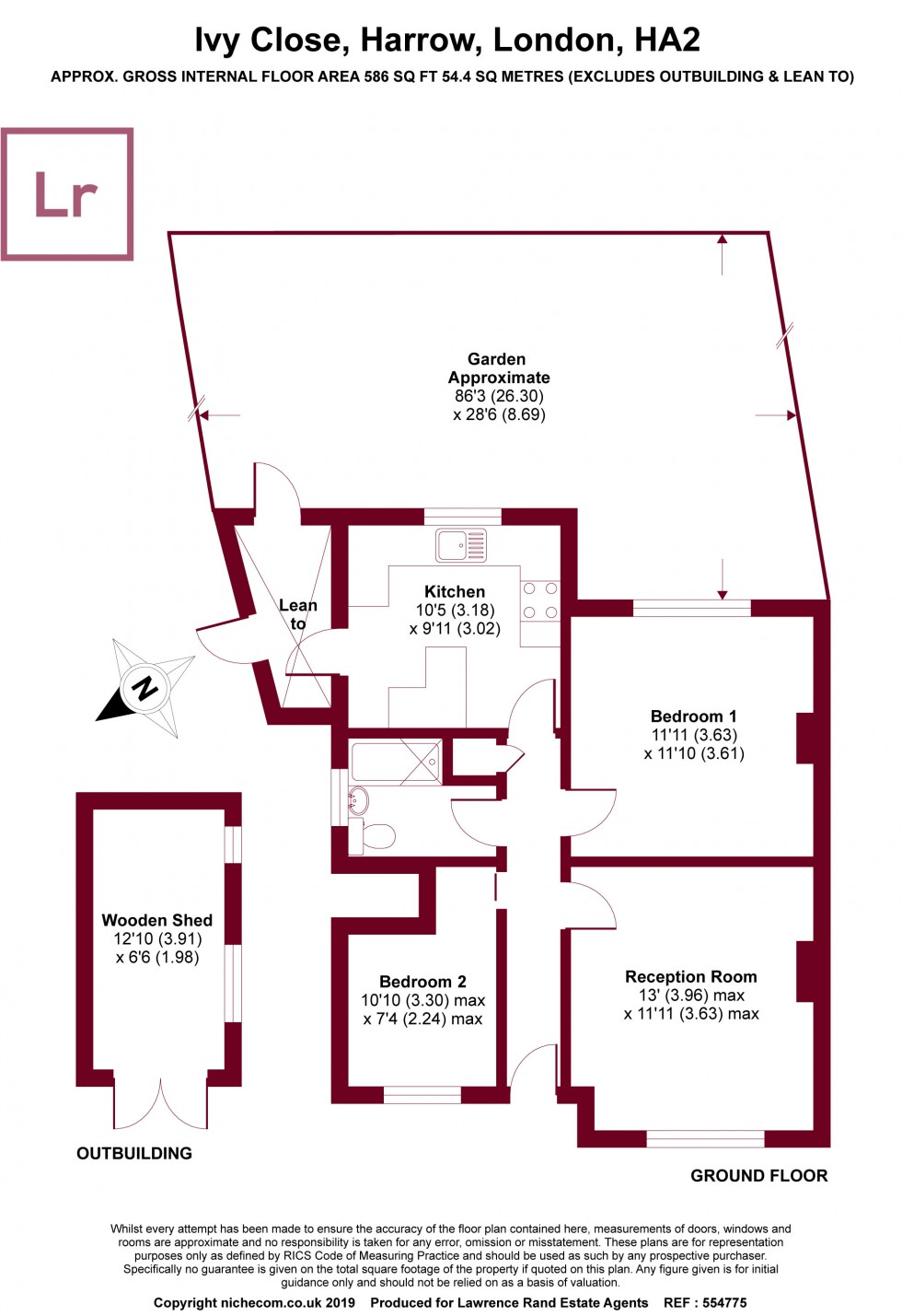 Floorplan for Ivy Close, Harrow, HA2