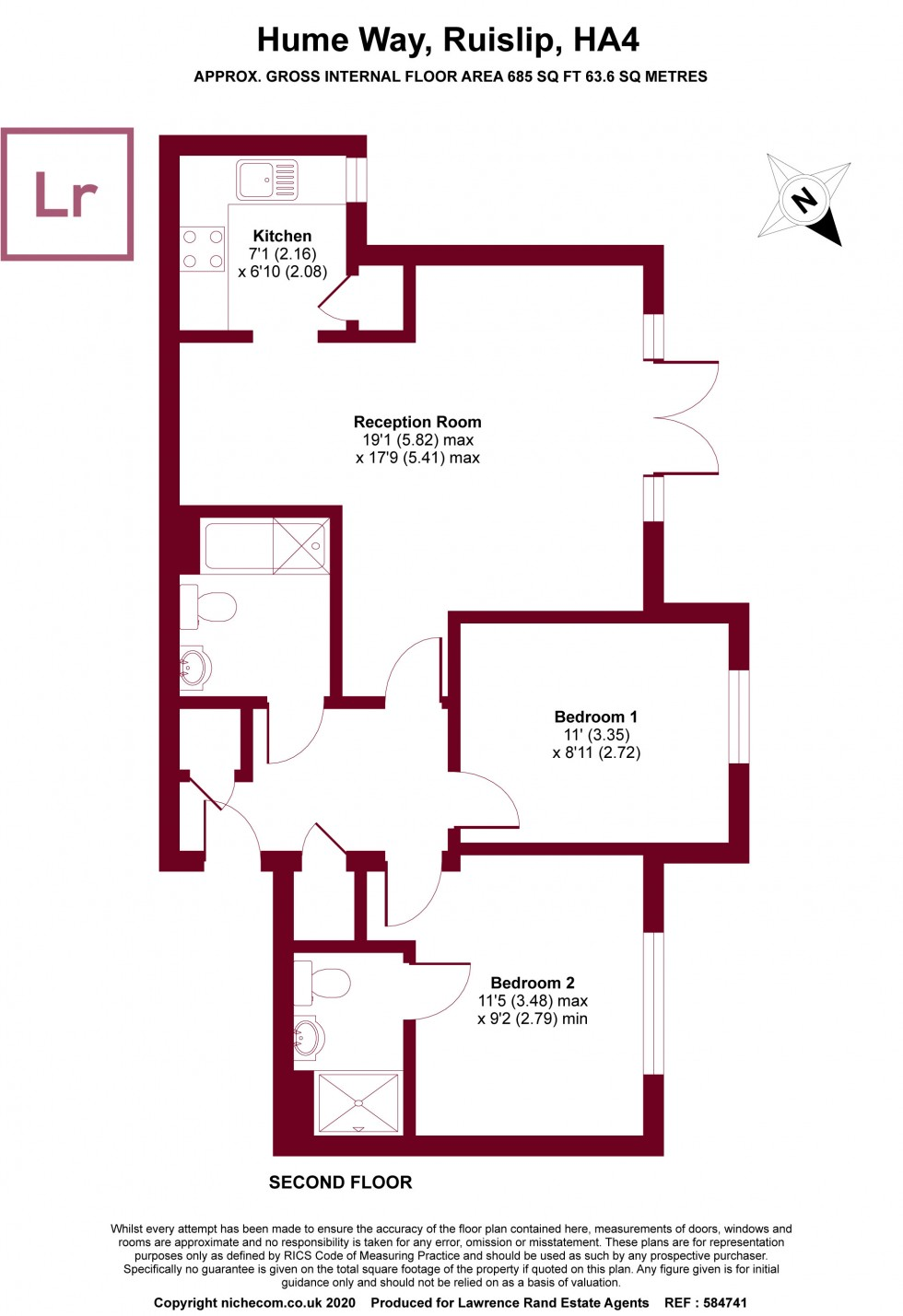 Floorplan for Royal Court, Hume Way, Ruislip, Middlesex, HA4