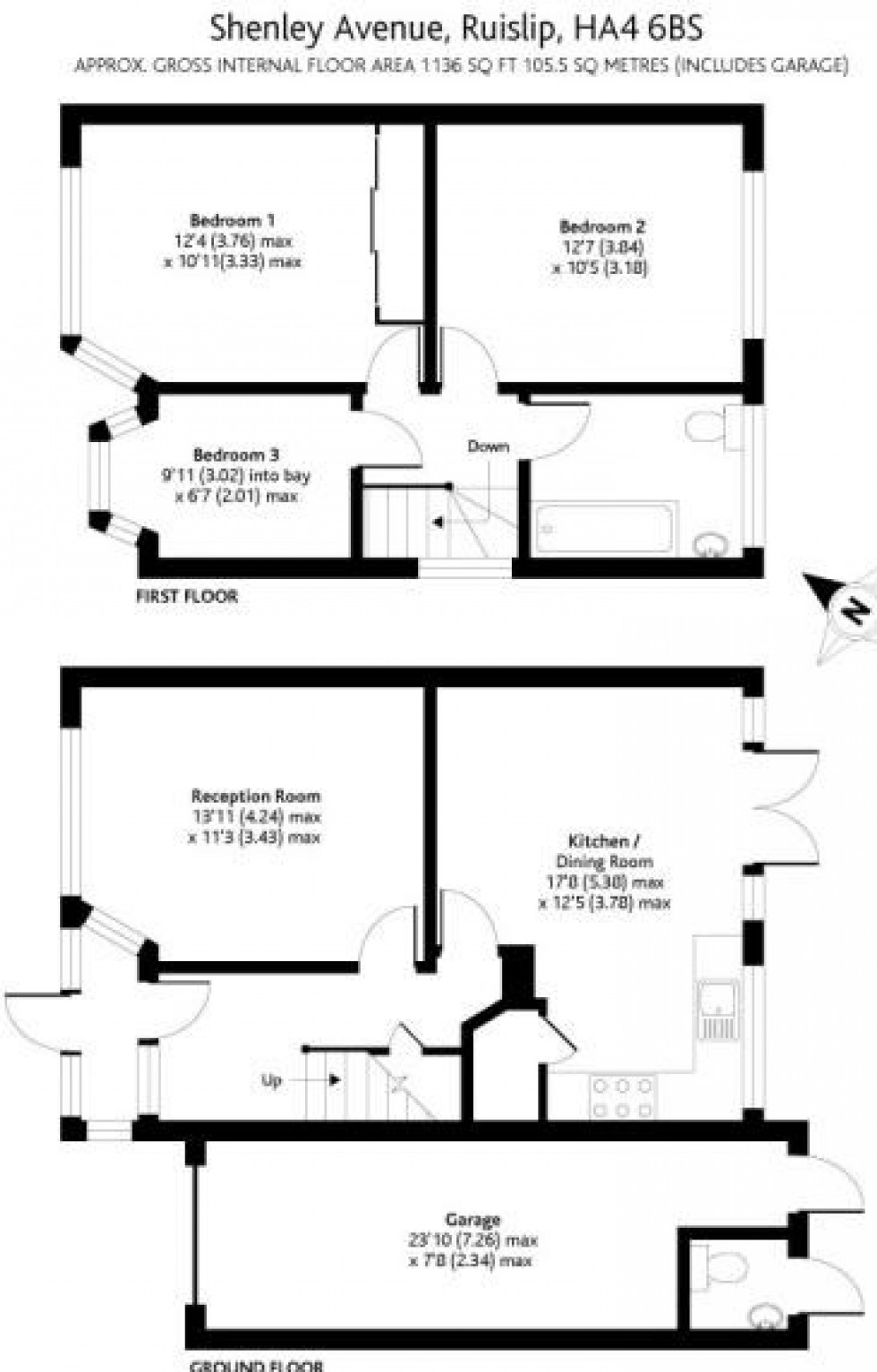 Floorplan for Shenley Avenue, Ruislip, Middlesex, HA4